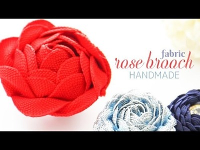 DIY : HANDMADE FABRIC ROSE BROOCH*【かわいいブローチをDIY♡】布テープで作る「バラブローチ」