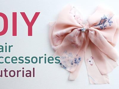 리본공예 DIY.How To Make Hair Accessories.handmade hair accessories.HairBow Tutorial.쉬폰리본핀 만들기.리본공예