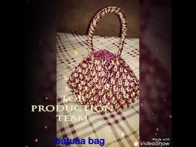 Hand made  batuaa bag with beads and macrame