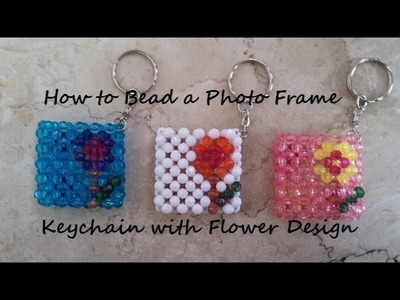 How to Bead a Photo Frame Keychain w.Flower Design
