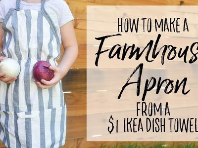Kid's Farmhouse Apron from a $1 IKEA Dish Towel - Simple Sewing IKEA Hack