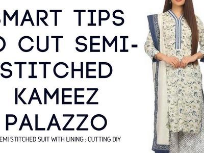 Make Semi Stitched Designer Suit & Palazo Cutting Sewing diy semi stitched suit kameez stitching diy