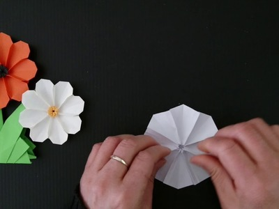 Origami Cosmos Flower (V2).8-petal Flower 折纸波斯菊