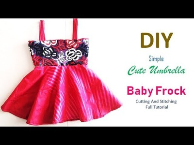 DIY Cute Baby Umbrella Frock Using Waste Clothes In Simple Way Full Tutorial