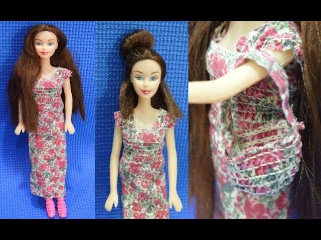 DIY Maxi Dress For Barbie Doll With Matching Bag | Dollhouse Clothes | Eshanya Arts