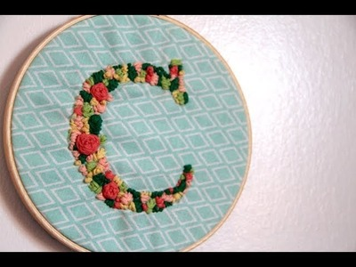 EASY BEAUTIFUL DIY Embroidered Letter Hoop