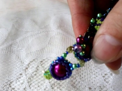 Handmade beaded bracelet peyote pearls green purple new unique cuff