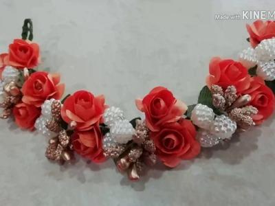 How to make Bridel weddingHair brooch at home.DIY trendy and easy hair jewellery.simple gajara.