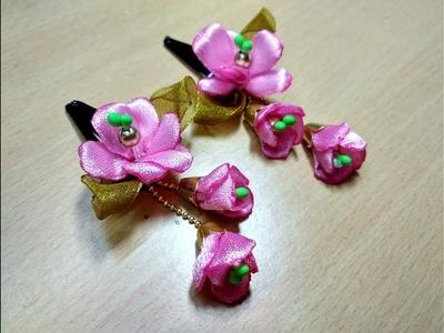 How to make latest Satin ribbon hair clips for kids. DIY. Satin ribbon Tic Tac clips