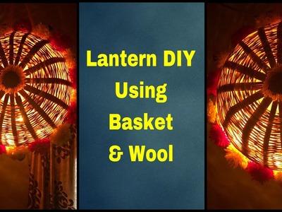 Lantern DIY by using basket and Wool.