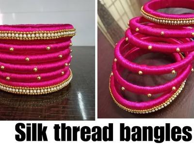 Tutorial for handmade Silk Thread Bangles for beginners, how to make silk thread bangles at home.