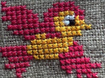 Hand Embroidery Work: Cross Stitch Embroidery : Bird Pattern