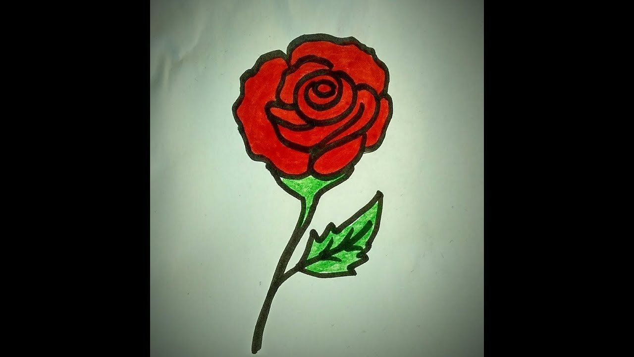How To Draw A Rose Easy Tutorial Simple Rose Flower