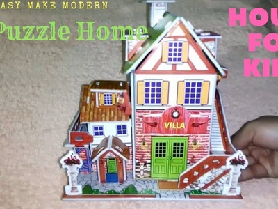 How to Make Puzzle House Or Home-Toys For Kids.Easy Make Modern 3d Jigsaw Puzzle House.