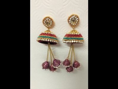 Paper quilling silk thread earrings || paper quilling earrings