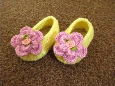 """Crochet baby shoes booties slippers 3.5"""" sole 0-3 months flower  tutorial Happy Crochet club"""
