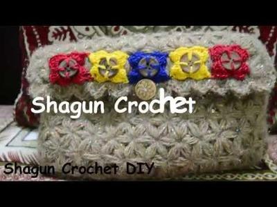 Crochet beautiful Jasmine Stitch. Puffed Star Stitch. Clutch.Purse.Handbag PART 1