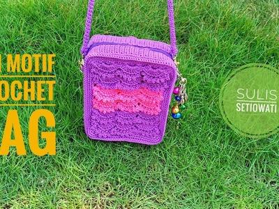 Crochet || fan motif crochet bag