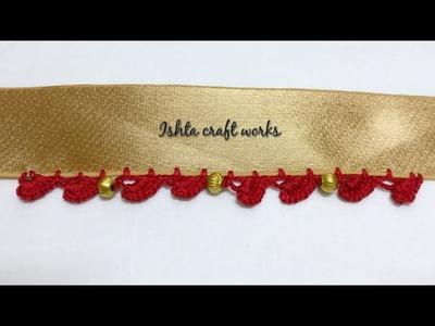 Crochet shell with beads saree kuchu.tassel pattern - crochet.krosha saree kuchu