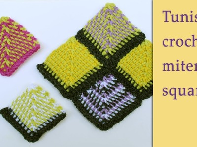 How to make a mitered square in Tunisian crochet