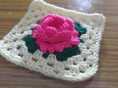 How to make Crochet 3D Rose Square