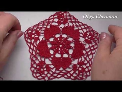 Motive  CROCHET patterns  CROCHET doily Tutorial Мотив для салфетки