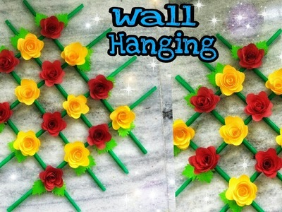 Paper Flower Wall Hanging  DIY Wall Decoration  How to make newspaper wall hanging.