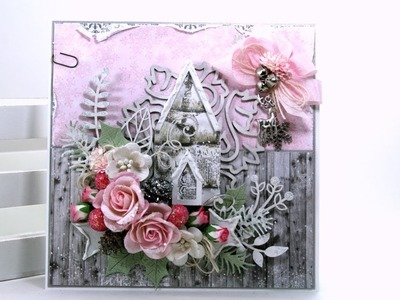 Day 8 of 12 Days of Christmas in July Shabby Chic Church  Greeting Card Polly's Paper Studio