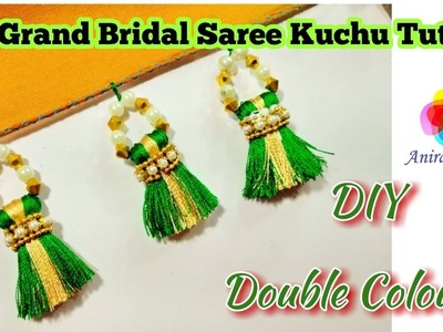 DIY Grand Bridal Saree Kuchu Double Colour Tutorial How to make bridal Kuchu at home