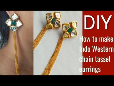 DIY how to make Indo Western chain long tassel earrings at home.jewelry making tutorial