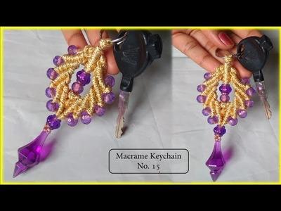 DIY Macrame Keychain Design No. 15   macrame keychain tutorial.