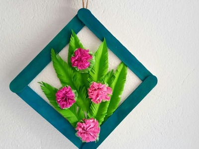 Diy paper flowers wall hangings. Wall decoration ideas. How to make easy paper flower wall hanging