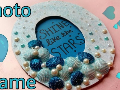 DIY Photo Frame || Sea Shells || Glitter Picture Frame || The Blue Sea Art
