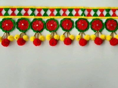 DOOR HANGING TORAN TUTORIAL \ HOW TO MAKE DOOR HANGING TORAN FROM OLD BANGLES || OLD BANGLES CRAFT