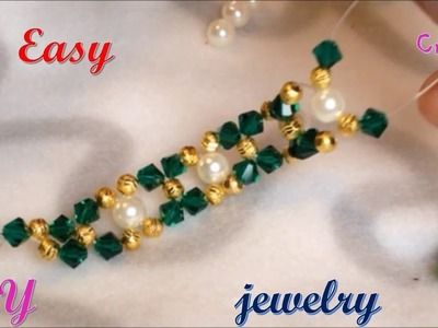 Easy diy beading bracelet and earrings with swarovski bicones and pearls | diy jewellery