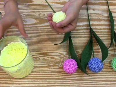 How to make a beautiful Hortensia (Hydrangea).(Cách làm hoa tú cầu từ hạt xốp)