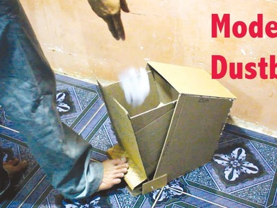 How to Make a Modern Dustbin With Cardboard at Home DIY [tutorial]