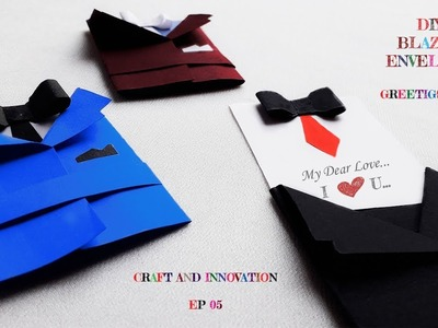 How to make amazing blazer envelope || DIY coat greetings card || craft and innovation ep 05