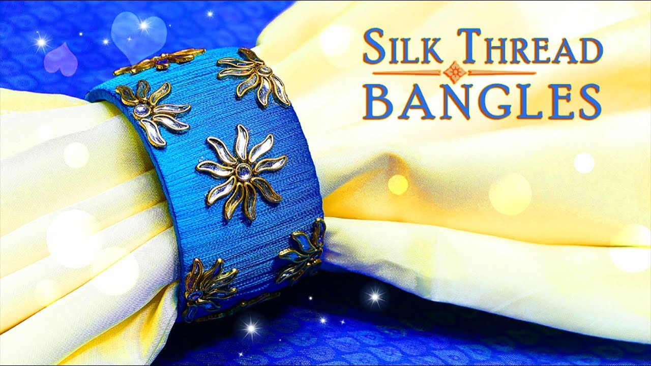 How To Make Designer Kundan Stone Silk Thread Bangle