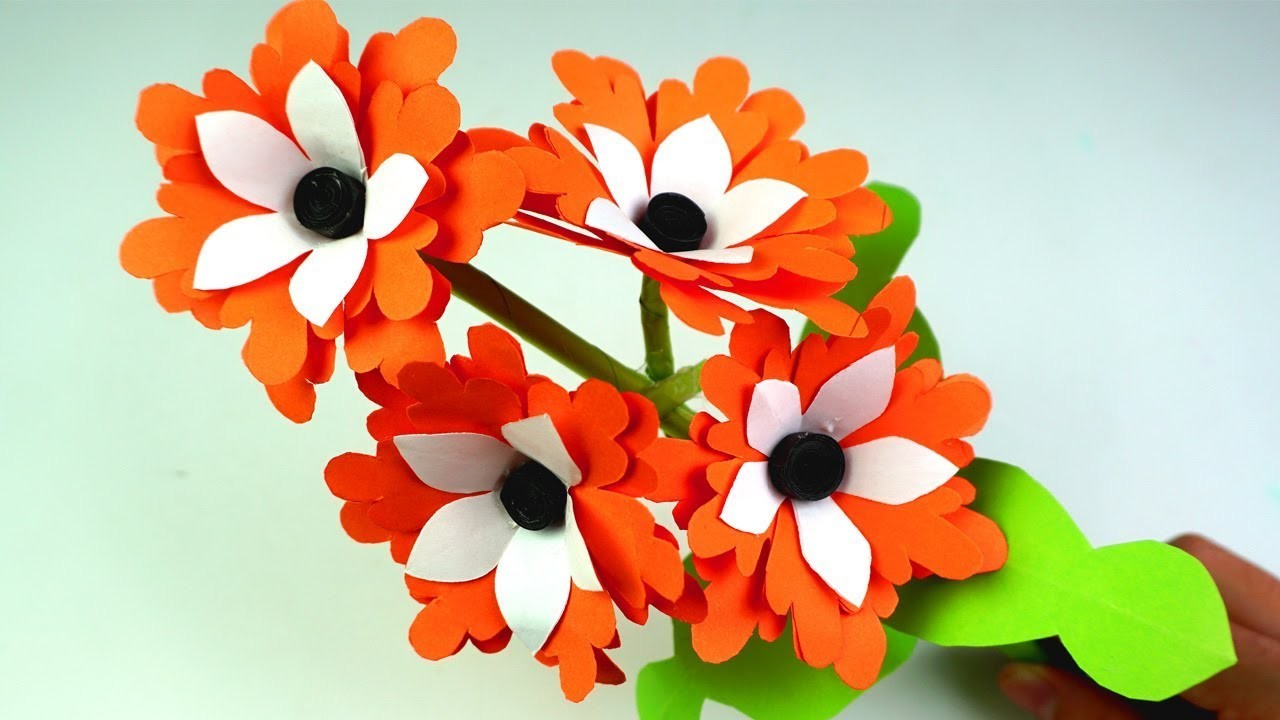 How To Make Easy Beautiful Paper Stick Flower Diy Hand Craft Ideas