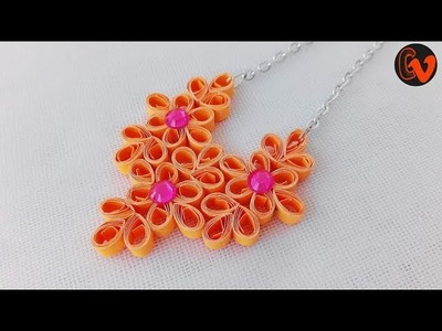 How to make Quilling Necklace Tutorial. Quilling Pendant. Paper Quilling Jewellery