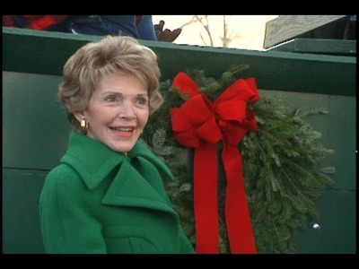 Nancy Reagan Accepts White House Christmas Tree on December 6, 1988