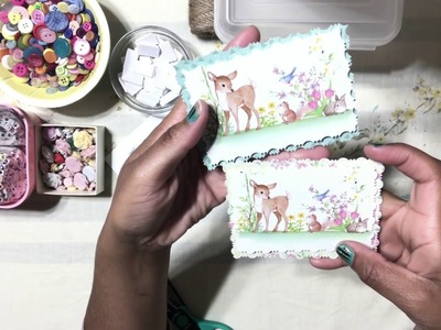2. DIY EMBELLISHMENTS 3-in-1 : Using Dollar Tree Note Cards