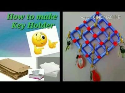 DIY Key holder making at home.Best out of waste.creative handart