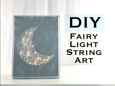 DIY MOON STRING ART WITH FAIRY LIGHTS