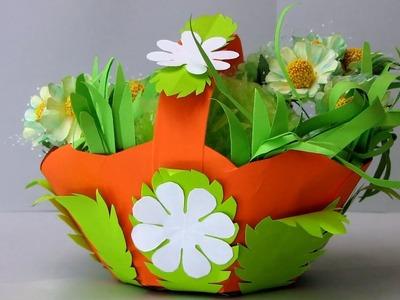 DIY Paper Basket : How to Make Easy Paper Basket for Chocolates   Christmas Gift Basket  # 3