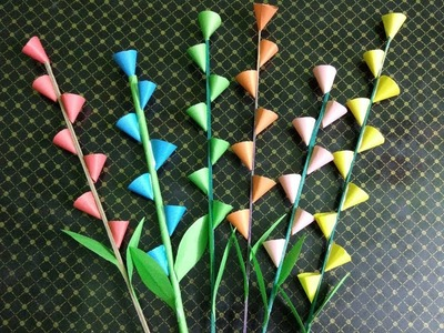 Easy Paper Flower Stick Making for Room Decoration ????????????