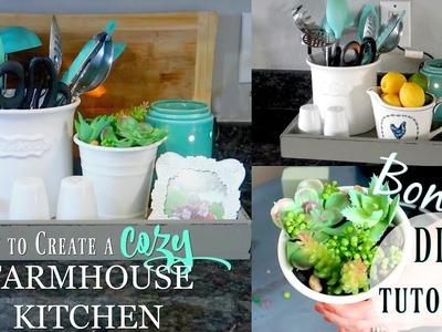 HOW TO CREATE A COZY FARMHOUSE KITCHEN. DIY SUCCULENT PLANTER. PURPOSEFUL JOY