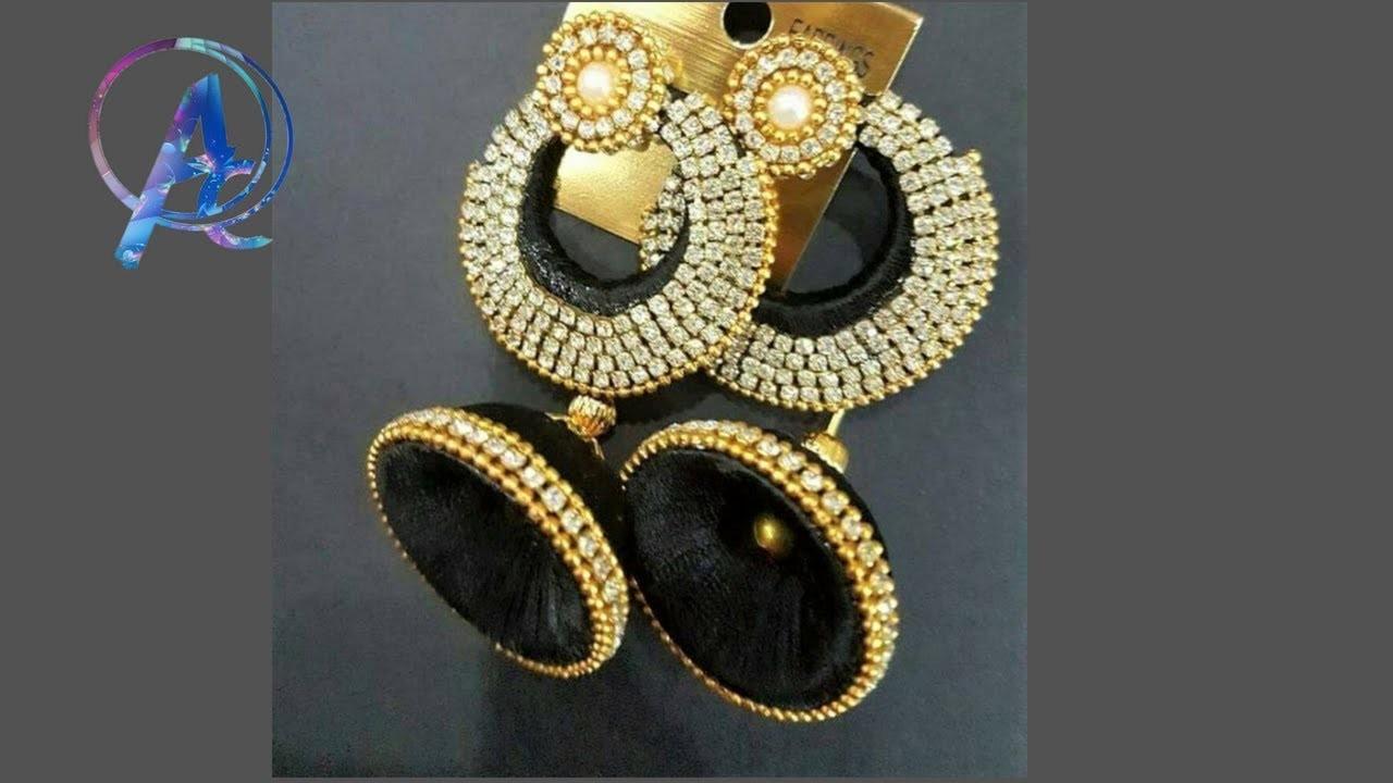 How to make designer fancy earrings || silk thread earrings