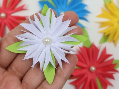 How to Make Easy Paper Flowers for Wall Hanging & Room Decoration | Flower Making Tutorial Beginners